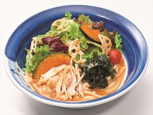 【写真を見る】野菜たっぷり!ヘルシーな「蒸し鶏のごまだれサラダうどん」