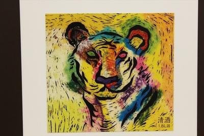 版画の虎が神秘的