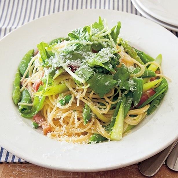 「緑野菜のペペロンチーノパスタ」 レタスクラブニュースより
