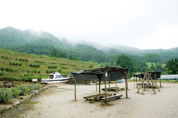 糸島バーベキュー のろ高原の、山側にある屋外BBQ場。水遊びができる池やブランコも