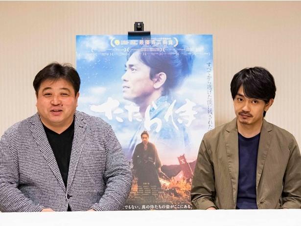 【写真を見る】公開に先立ち、主演の青柳翔と錦織監督が福岡入り!記者会見が行われた