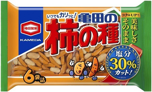 【写真を見る】「200g 減塩 亀田の柿の種 6袋詰」