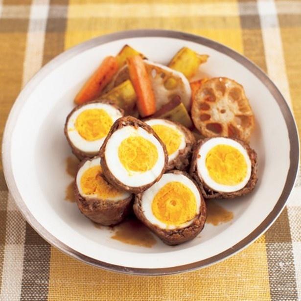 「ゆで卵の肉巻照り焼き」 レタスクラブニュースより