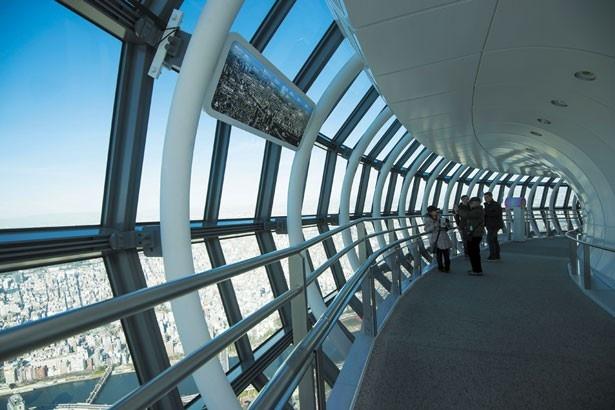 真っ白な鉄骨とガラスでおおわれた近未来的なデザインの回廊