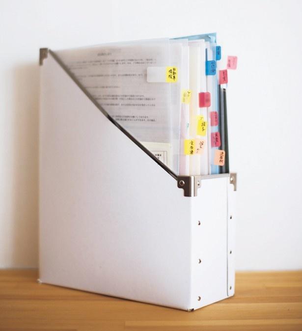 まずはカテゴリーごとにボックスと、必要数のクリアファイルを用意