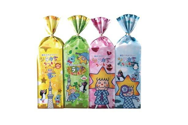 「ソラカラちゃんプチクッキー」(各515円)はプレーン、チョコ風味、メープル風味、紅茶味の4種類