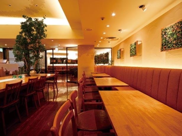 白や木目を基調としたナチュラルなスペース。テーブルから突き出たジャスミンの木も印象的/NORTH LOUNGE 北欧館