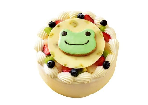 【写真を見る】かわいいかえるの顔がかたどられたケーキ