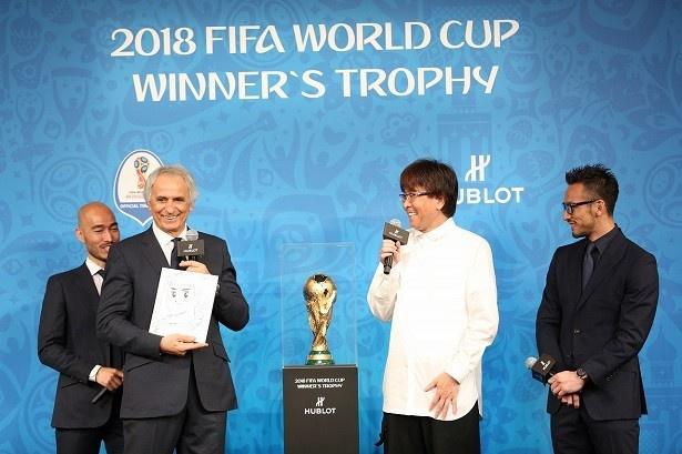 左からハリルホジッチ監督、高橋陽一氏、中田英寿
