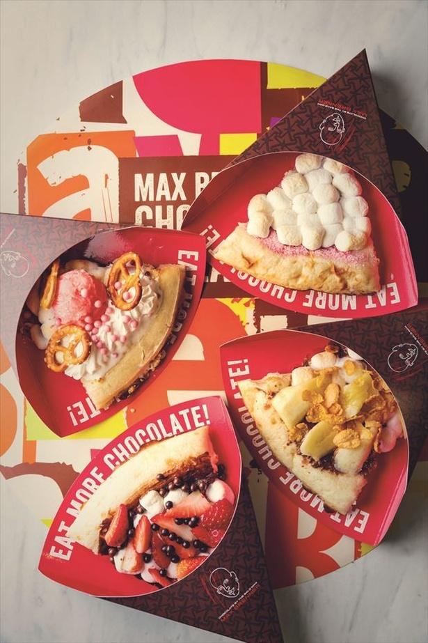 「MAX BRENNER CHOCOLATE PIZZA BAR」の色とりどりのチョコレートピザ