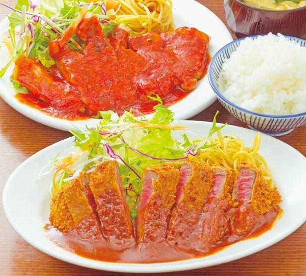 「ビフカツ」(手前・1480円)と「ポークチャップ」(奥・1280円)/洋食の朝日