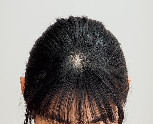【写真を見る】分け目を作らず、手ぐしで髪全体を後ろにまとめる