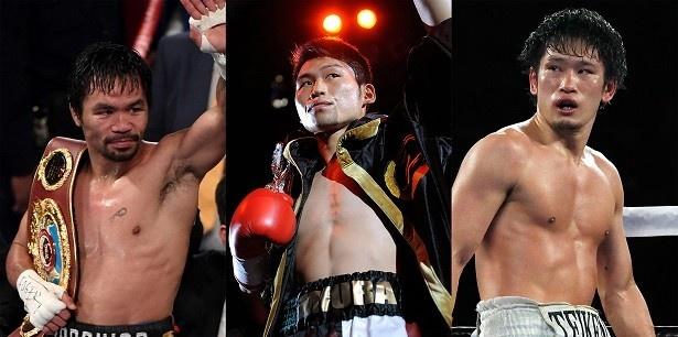 WOWOWでは2か月連続で(写真左より)マニー・パッキャオ、三浦隆司、亀海喜寛の3大ビッグマッチを生中継!