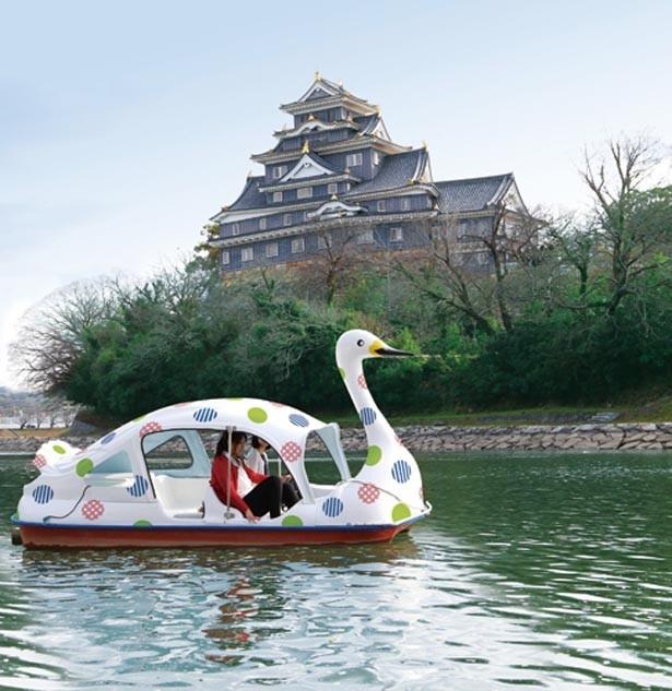 「mt×スワンボート」は、岡山後楽園と岡山城の間を流れる旭川で遊べるスワンボート/岡山後楽園