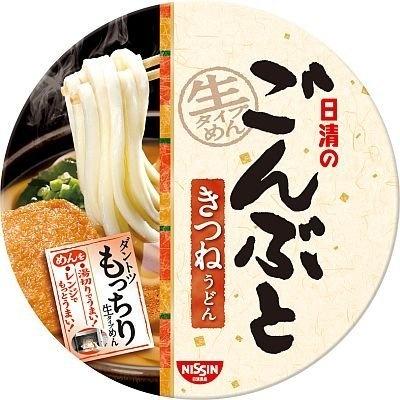 麺はすべて国産小麦100%使用の、関西風のうどんつゆの「日清のごんぶと きつねうどん」