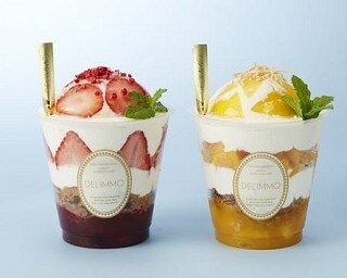 「Patisserie & Cafe DEL'IMMO渋谷ヒカリエ ShinQs店」が6月12日(月)にオープン。写真は「パフェール ストロベリー」と、近日発売の「パフェール マンゴー」(各880円)