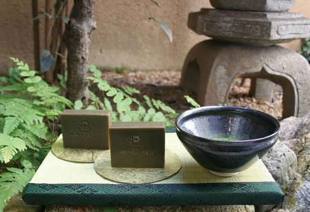 茶の実・アルガン・ホホバオイルなどを使用した新発売の「抹茶洗顔石鹸」
