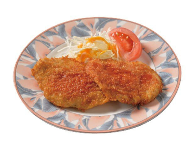 揚げ物&サラダの別皿トッピングは、どれも1皿(200円)。ヘレカツ(写真)、エビフライ、チキンカツ、クリームコロッケの4種類/洋食屋カトリーナ