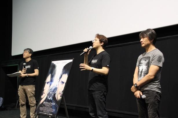 カプコンの小林裕幸プロデューサー(中央)、マーザ・アニメーションプラネットの篠原宏康プロデューサー(右)、司会を務めた本作の宣伝プロデューサー千葉淳氏(左)が登壇