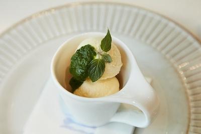 「ゲン担ぎメシ」の「愛♡アイス with 小松菜ピューレ」