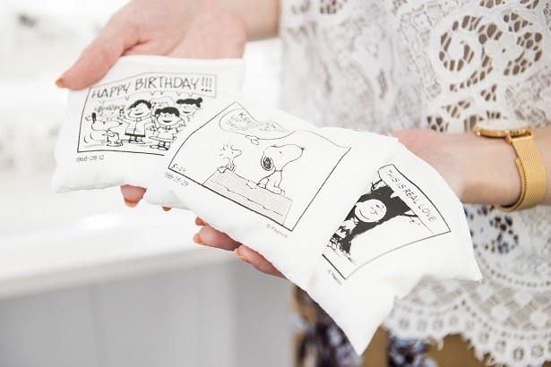 スヌーピーに入れるペレット(詰め物)には、名言入りのコミックのワンシーンがプリントされている