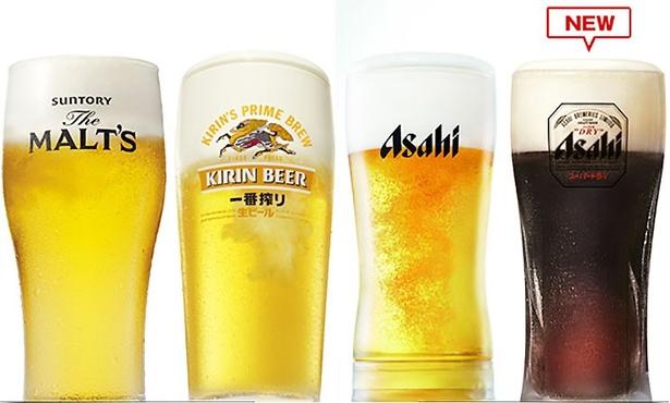 ビールは、サントリー、キリン、アサヒの4種類の生ビールが楽しめる