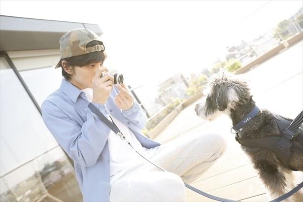 「かわいいよぉ」と褒めながら愛犬・ハクくんを撮影する匠海くん。