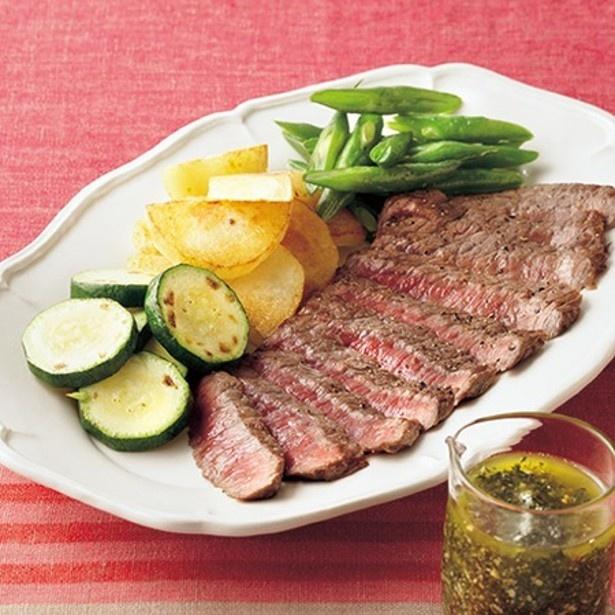 「牛肉と焼き野菜の和風ジェノベーゼソース添え」 レタスクラブニュースより