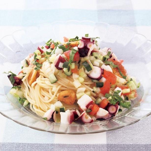 たこと彩り野菜の冷製パスタ