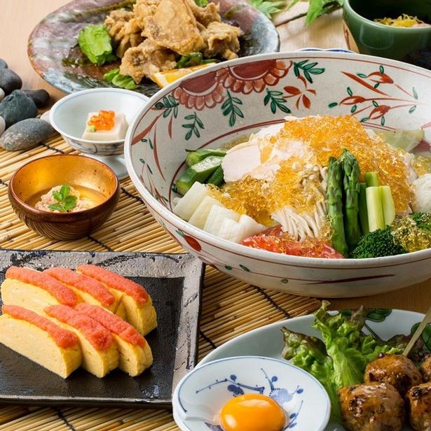 人気の博多水炊きアレンジした「納涼水炊きサラダ」を含む、「選べるビアホールコース」(6000円)