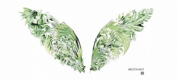 工事中外装壁面に植物のデザインで天使の羽を表現した「Botanical Wings」を展開