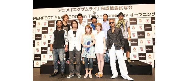 EXILEと監督のアベユーイチ、人気声優の平野綾や竹内順子!