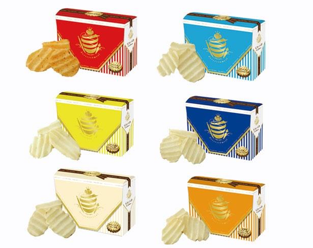 右上から時計回りに「はちみつ&マスカルポーネ味」「しお味」「北海道バター味」「カマンベールチーズ味」「シチリアの塩とレモン味」「トマト&バジル味」