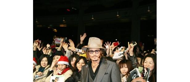 映画「パブリック・エネミーズ」のジャパンプレミアに出席したジョニー・デップ