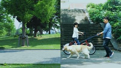 歩行者とすれ違う時は自転車から降りて。散歩中のかわいいワンちゃんも登場!