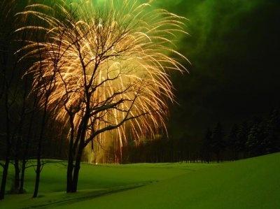 【2010ニューイヤーフェスティバル】花火がホテルを照らし華やかに浮かび上がる。利用客でなくても参加は歓迎だ