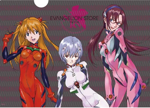 「EVANGELION STORE TOKYO-01」はマグカップやポーチなどの雑貨も充実。クリアファイル(レイ&アスカ &マリ、270円)