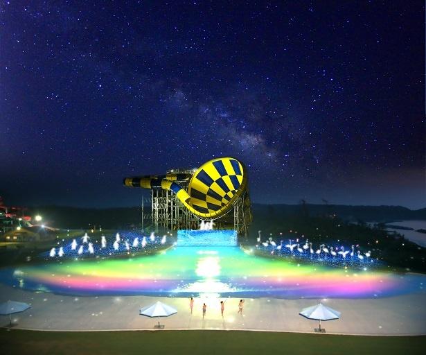 日本海側最大級のテーマパーク「芝政ワールド」では、プールエリアが美しい光と音で演出される「サマーナイト・イルミネーション」がオープンする