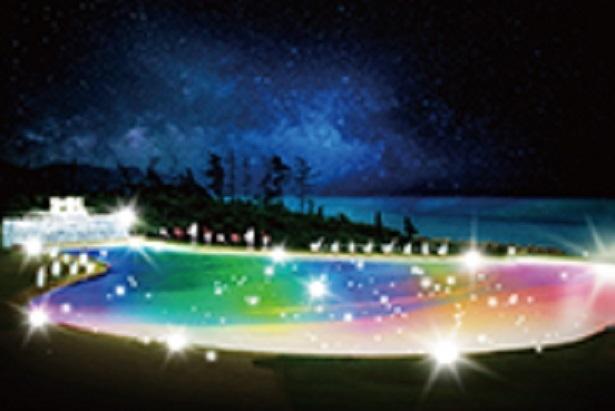 【写真を見る】日本海側最大の波の出るプール「カリビアンビーチ」を中心に、プールエリアが美しい光と音で演出された幻想的なウォーターワールド