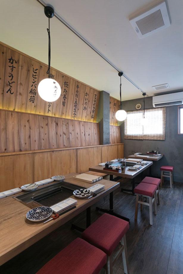 1~3階の3フロア。3階はすべてテーブル席。1階にはカウンター席もあり/福島 焼肉寿司
