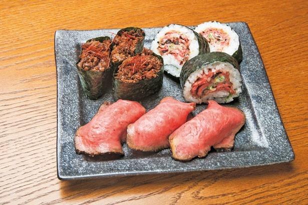 「国産牛肉寿司定食」(1188円)は、厳選食材で作り上げた行列必至の激旨肉寿司!/佰食屋肉寿司専科