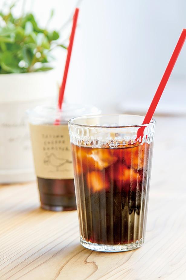 「TAISHO COFFEE ROASTER」の「アイスコーヒー」(400円)は、さっぱりとした口あたりで、テイクアウトもできる