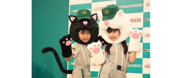 クロネコヤマト引越センターの新CM発表会に登場した加藤清史郎と佐々木りお(左から)