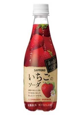 J:フレッシュな旬のイチゴがギュッ!/素のままづくりいちごのソーダ 8本セット」(¥1120相当)。イチゴ果実のフレッシュな酸味が生きた炭酸飲料が新発売。人工甘味料や着色料を使用しない華やかな甘酸っぱさは、イチゴ好きならずともハマる! 410mlボトル(140円相当)×8本を30名に