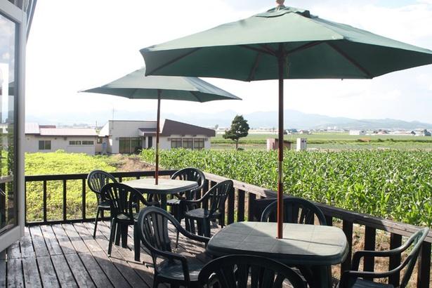 フラノバーガー/テラス席。富良野の牧歌的な景色が広がる