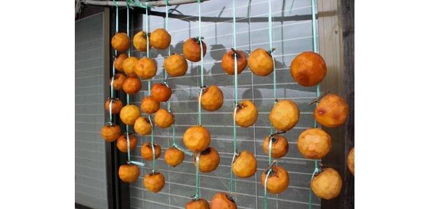 秋に作る干し柿。貴重な冬の料理の材料になります。