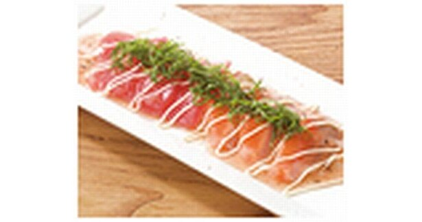 「うまいもん酒場 えこひいき」職人技が光る魚料理「サーモンとマグロのカルパッチョ」も299円均一!