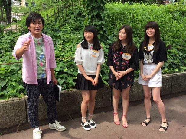 谷真理佳、木本花音、浅井裕華らが名古屋の新しい魅力を探すロケを行う(写真右から)