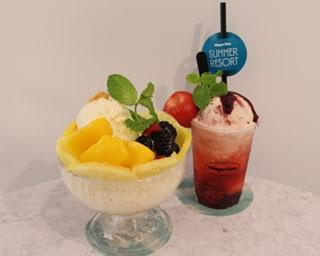 ハーゲンダッツアイスクリームを使用した贅沢スイーツが勢ぞろい!写真左から「ハーゲンシェイブ バニラ」(1600円)と「ハーゲンダッツ ミックスベリーフロート」(600円)