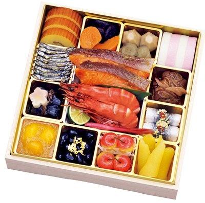 西武池袋本店にある「藤兵衛」の「和風おせち一段」(1万500円、限定100折)は、焼きエビや焼き蛤など全20品目
